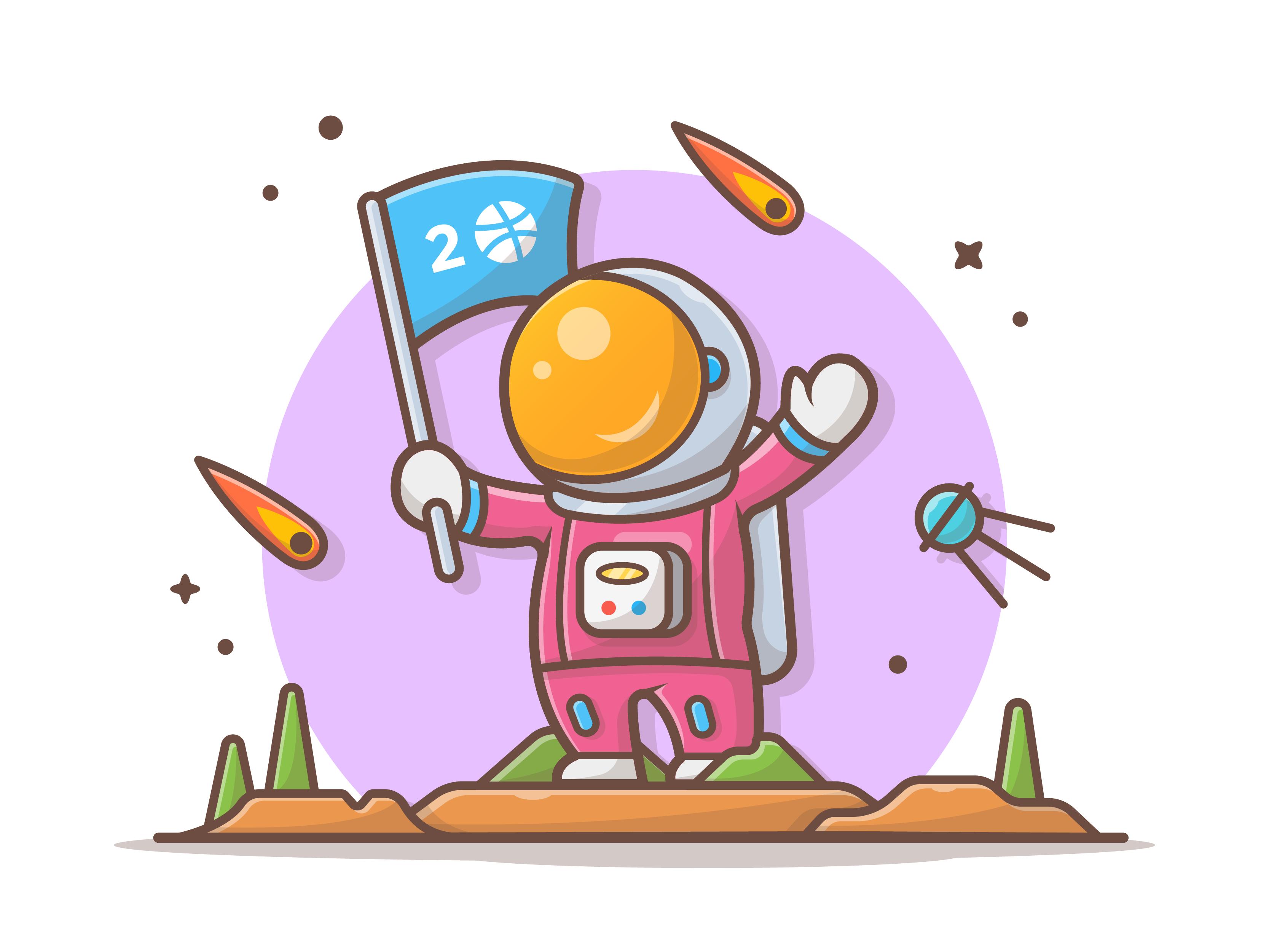 Astro holding flag dribbble 08