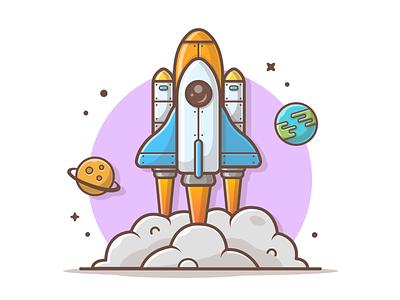 Space Shuttle 🚀🚀🚀 earth planet shuttle space vector minimal logo cute icon flat illustration dribbble