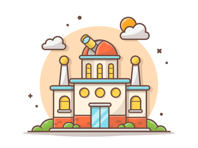 Viewing something beautiful outer space 🔭🌠 telescope view observatory space logo minimal lineart cute vector flat illustration dribbble