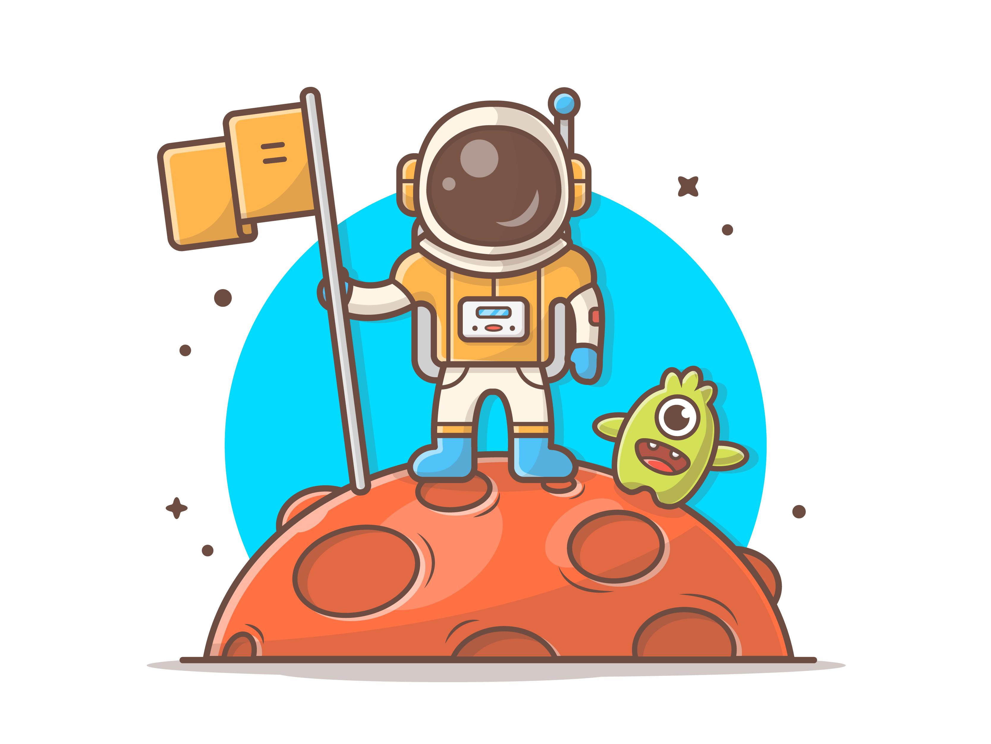 Astro standing on moon dribbble 07