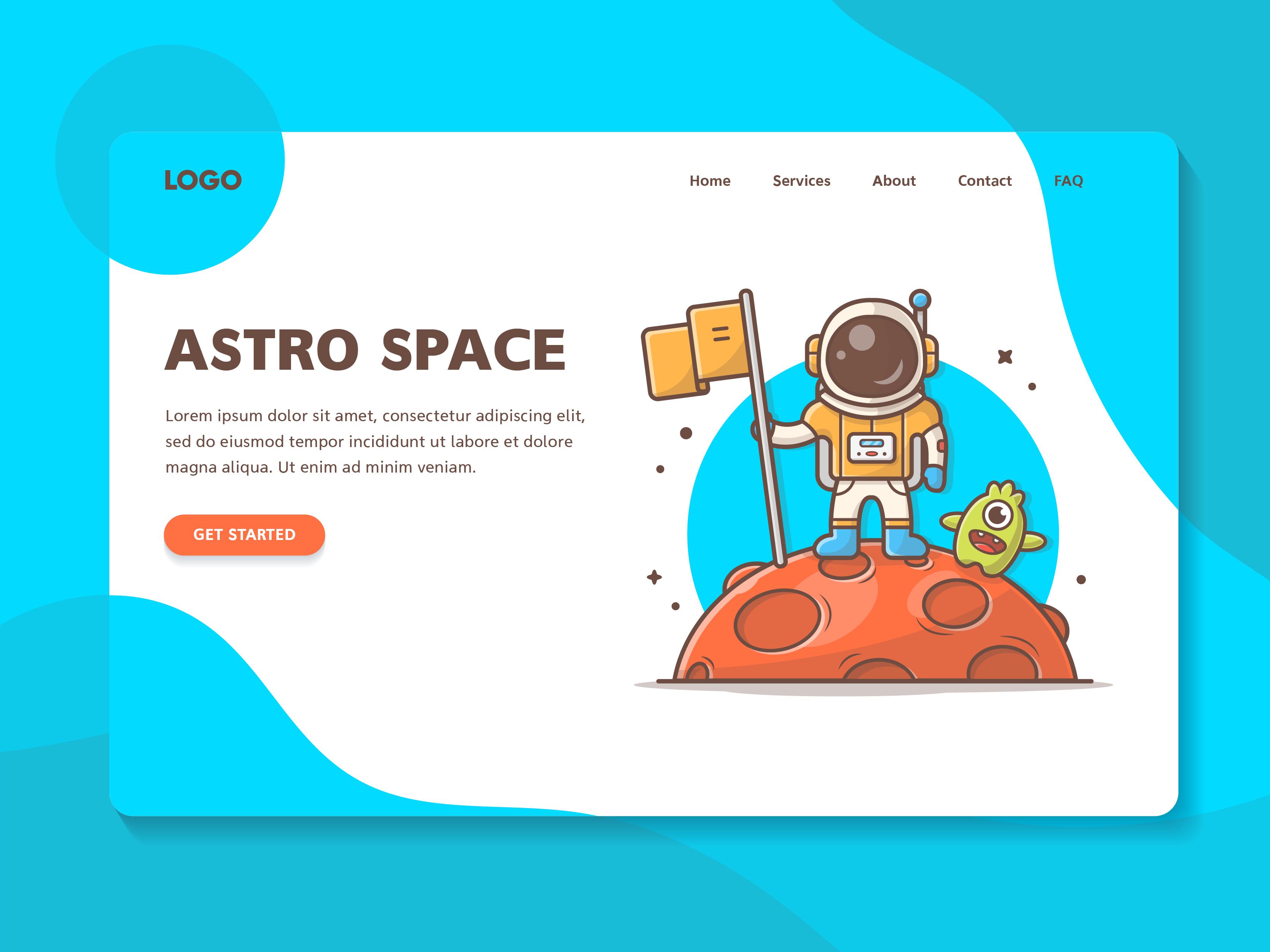 Astro standing on moon dribbble 06
