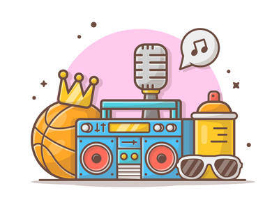 Hiphop Music 🎤🎼🎹🎶😸 rapper basketball boombox music hiphop minimal logo lineart vector icon flat illustration