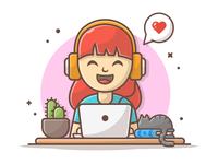 Girl listening music 🎤🎶❤