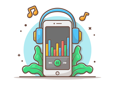 Music player 😺🎼🎹🎶 mobile headphones icon minimal logo cute headphone tune player muisc dribbble illustration