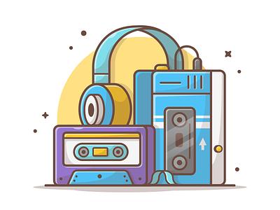 Old music player 🎧 🎶 cassette headphone walkmania music player old music lineart logo cute icon dribbble illustration