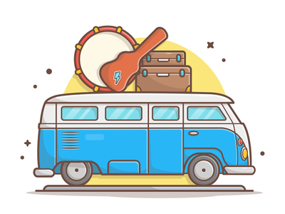 Van music tour 🚐🎶🎵🎸 car van drum guitar tour music logo lineart vector icon flat illustration