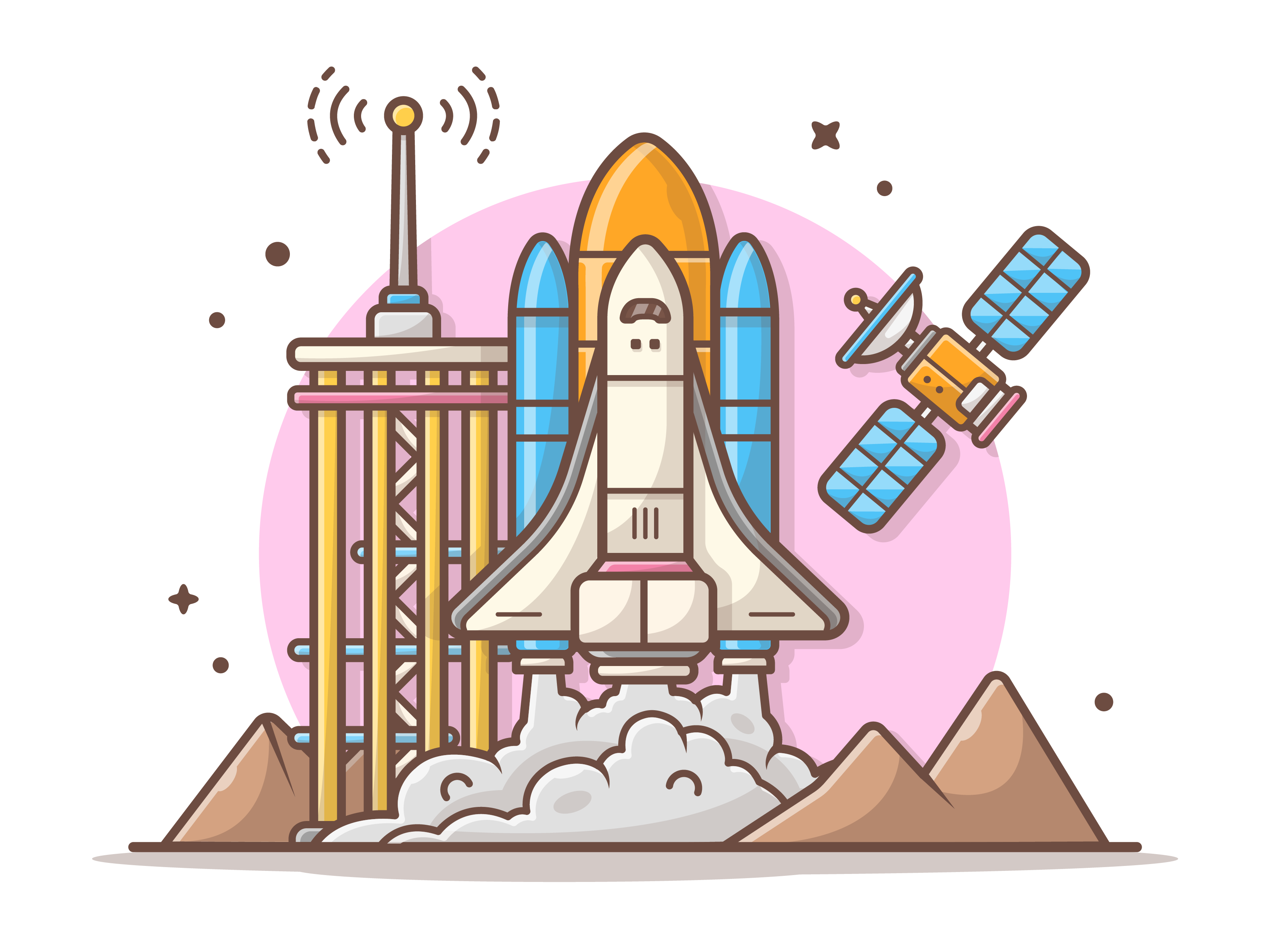 Space shuttle with satellite and mountain2 dribbble 07