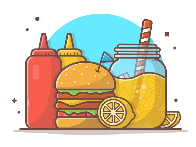 Summervibes~ 🍔🍹🍋☀ lineart icon logo illustration mustard lemon food fast burger juice orange summer
