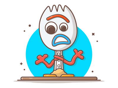 Forky from Toy Story 4 😁🍴 disney pixar cute lineart logo icon illustration forky cartoon movie story toy
