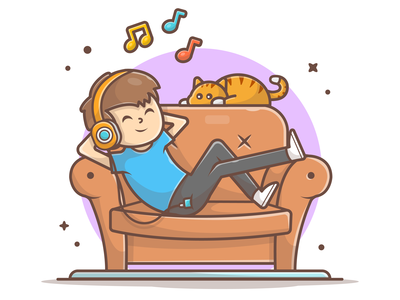 Chills out 🎧 🎶 🐱