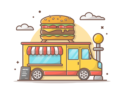 Burger truck 🍔 logo cute lineart street minimal burger logo illustration icon food fast truck burger
