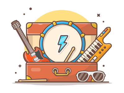 Music Instruments 🎸🎹🎶⚡ bass minimal icon logo illustration concert rock music glasses piano drum guitar