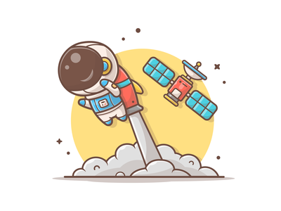 Flying to the stars! ⭐🌠👩🚀 logo illustration icon shuttle rocket satellite cute space astro astronaut flight fly