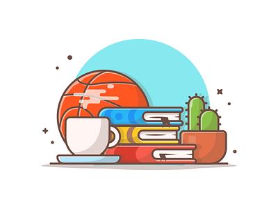Reading 📖☕ minimal logo illustration icon basketball tea hot coffee plant cactus book reading