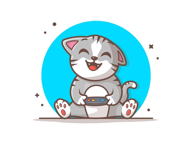 Cat Gaming 🎮🐱 mascot character happy pet joystick vector cute logo illustration icon mascot gaming cat