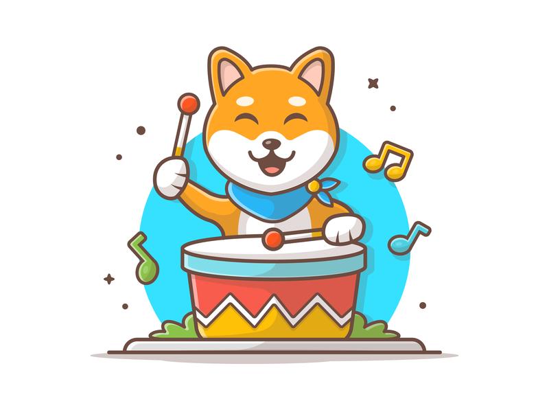 Shiba Drum 🐶 🥁 animal music pet vector dog illustration icon dog logo mascot cute dog shiba inu drum
