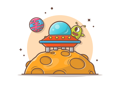 Alien invasion! 👽🌌🚀 illustration icon logo character planet rocket astronaut space cute invasion attack alien