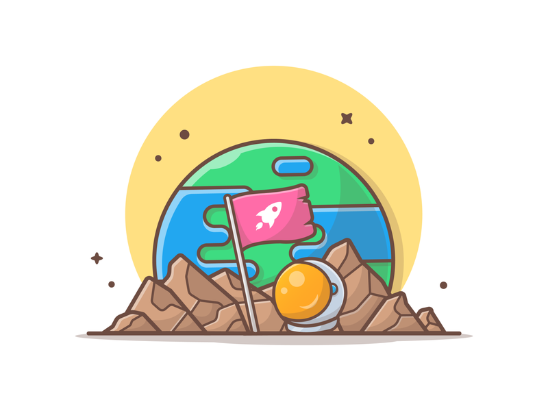 We're arrived 👩‍🚀 🌎 logo vector icon illustration helmet flag planet moon earth astronaut astro