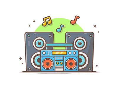 Boom Box 📻 🎶🎵 vector illustration icon logo audio sound sing song musix radio boombox boom