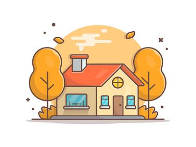 Autumn House 🍁🏠 minimal icon season logo vector house illustration weather trees winter fall house autumn