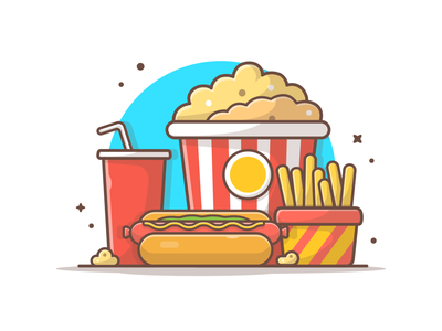 Movie Foods 🍟🌭🍿🥤 illustration icon logo snack meal french fries fast food hotdog soda popcorn food movie