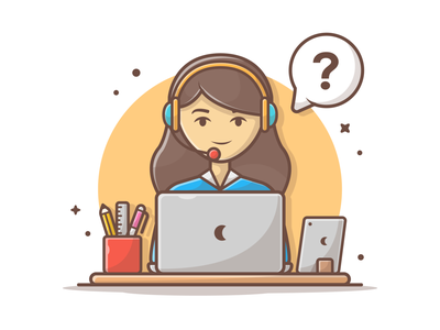 Need support or some helps? 📞👀 office work help customer support character cute logo vector flat icon illustration