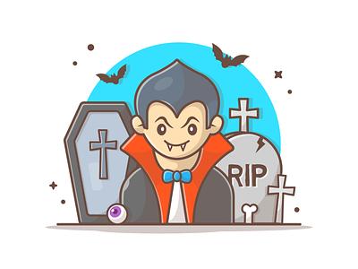 Vampire 🧛♂️🦇 illustration logo icon dead character mascot cute dracula eye bat halloween vampire