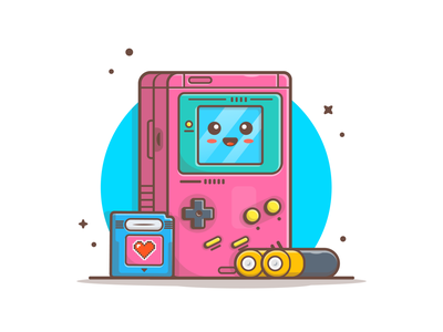 GameBoy Colors!! 🤓🙌 logo illustration icon childhood nintendo battery memory cute mascot character gameboy color gameboy