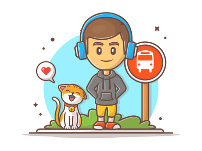 Waiting bus together 🚌 🤓😽 minimal logo flat icon illustration character cute cat music bus stop bus waiting