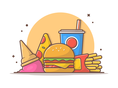 Happy Weekend!! 🍔 🍟 🍕 junkfood logo illustration icon sandwich cheese pizza french fries soda burger food fast