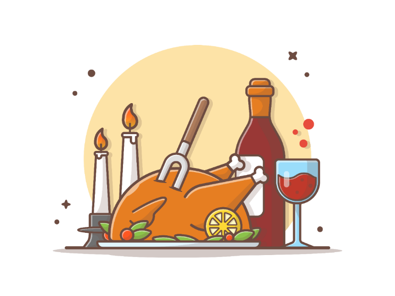 It's Turkey Time!! 🐣🍗🥂 holiday happy autumn food icon logo illustration chicken giving thanks time turkey