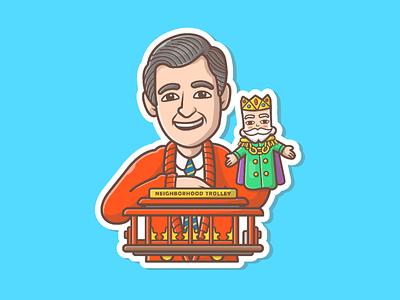 Mr. Rogers' Neighborhood 🤩🤓 king happy trolley masot icon logo illustration character sticker neighborhood rogers mister