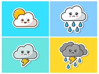 Clouds Emoticon ⛅️🌧🌩⛈ 😁 storm rain sad happy icon logo cartoon emoticon mascot illustration sticker cloud