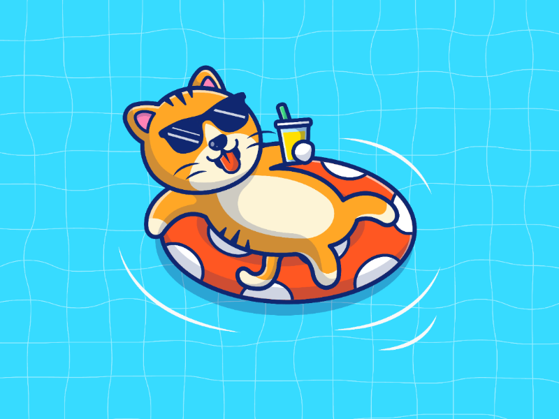 Cat Chill 😽💦🍸 balloons pet animal cartoon icon logo illustration pool summer character swimming cat