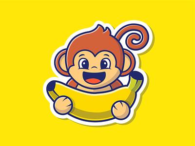 Monkey and Banana! 🐒🍌 animal logo icon illustration character happy mascot sticker eat cute banana monkey