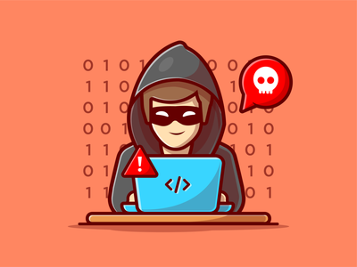 Hacker 💻☠️ thief character vector logo icon illustration phishing hacking internet code crime hacker