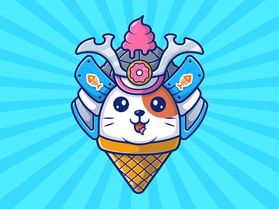 cat samurai! 😼😼🍦 logo icon illustration doughnut donut ice cream character mascot cute animal samurai cat