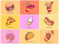 9 Flying Fast Food!! 🌭 🍔 🍟 🍕🍦🥤🍩🍗🌮