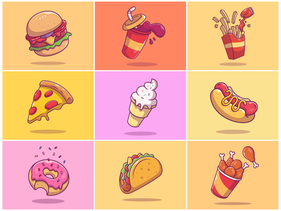9 Flying Fast Food!! 🌭 🍔 🍟 🍕🍦🥤🍩🍗🌮 logo icon illustration chicken wings taco donut soda can ice cream pizza french fries soda burger