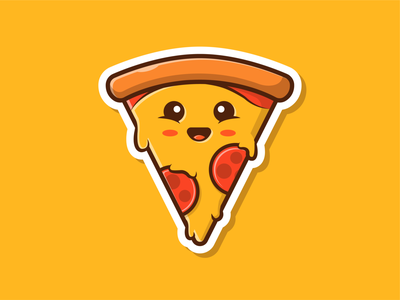 Happy Pizza!! 😬🍕 logo flat icon illustration happy character mascot sausage cheese fast food pizza cute