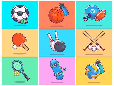 Flying Sports!! ⚽ 🏀 🏈 ⚾🎾🎳 icon logo sport volley skateboard baseball bowling tennis rugby basketball football soccer