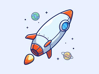 Rocket 🚀🚀✨ spaceship technology logo vector icon illustration launch astronaut star planet space rocket