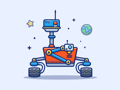 Mars Rover 🤖✨ cute logo vector icon illustration science planets planet robot space rover mars