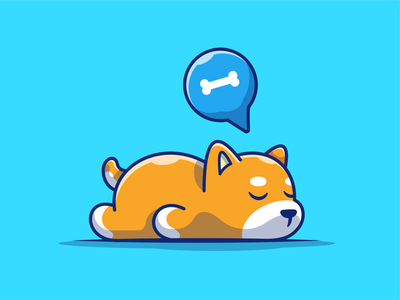 Just everyone mood after weekend be like...🐶😴😴 lazy logo vector icon illustration bone mascot sleep cute shiba inu dog mood
