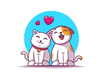 spread the love 😻😽💙 vector cute icon illustration logo pet animal heart romance couple love cat