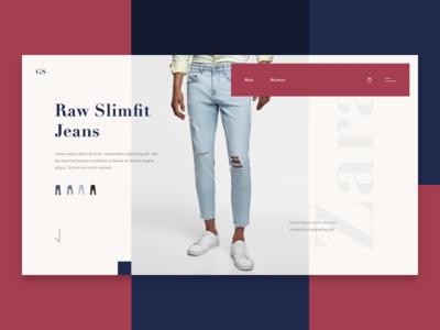 Fashion Lookbook landing page web clean interface ux ui shop concept jeans e-commerce fashion