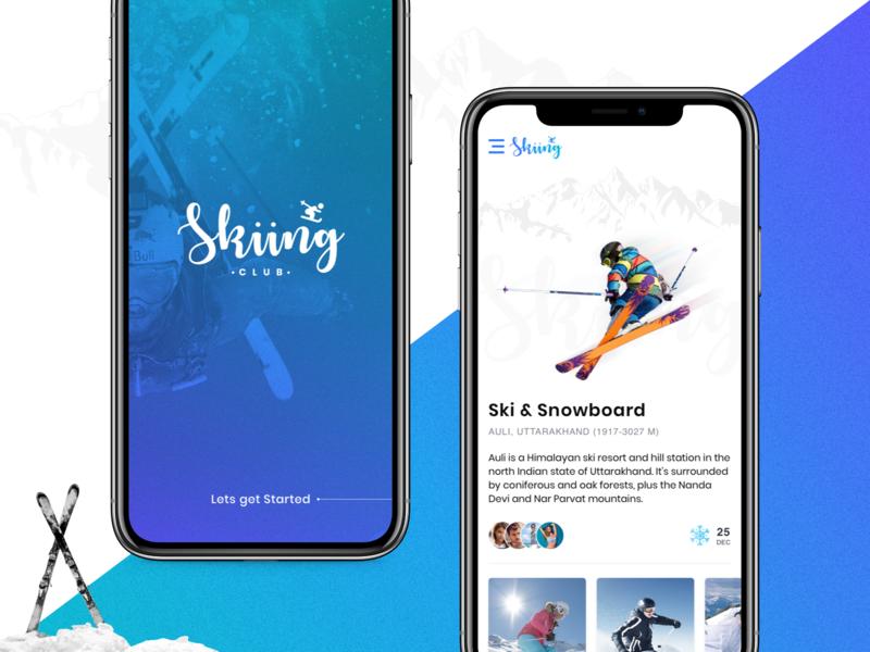 Skiiing Club winter home splash trending layout latest ux ui app concept app sports ski daily ui
