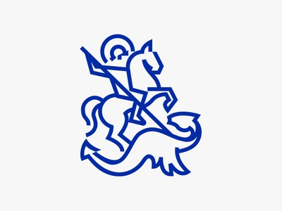 St. George horesman logo horseman horse logo horse for sale unused buy minimalistic logo minimalistic minimal saint george logo saint logo line art logo line art vector design illustration logo for sale logo design logo saint george saint