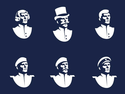 An Officer and a Gentleman illustration / logo bust soldiers character design vector admiral beret 20th century 19th century top hat gentleman military officer character illustration logo logo for sale logo design