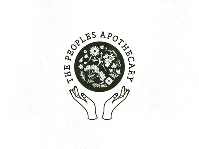 THE PEOPLES APOTHECARY hands herbs apothecary wildflowers flowers mark icon illustration branding logo